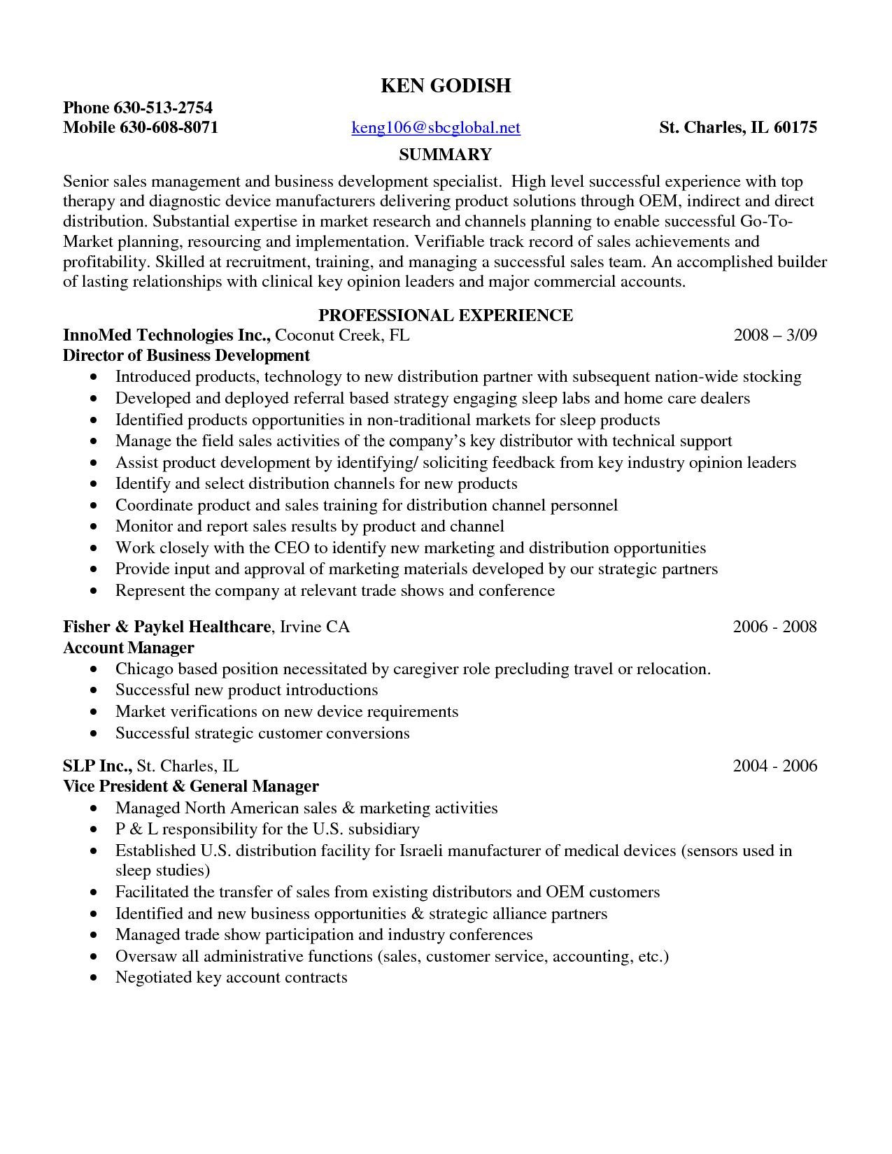 medical sales resume samples