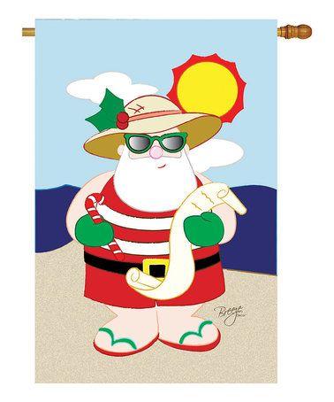 Loving this Tropical Santa Flag on #zulily! #zulilyfinds