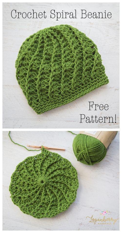 Crochet Twist Top Beanie Hat Pattern #beaniehats
