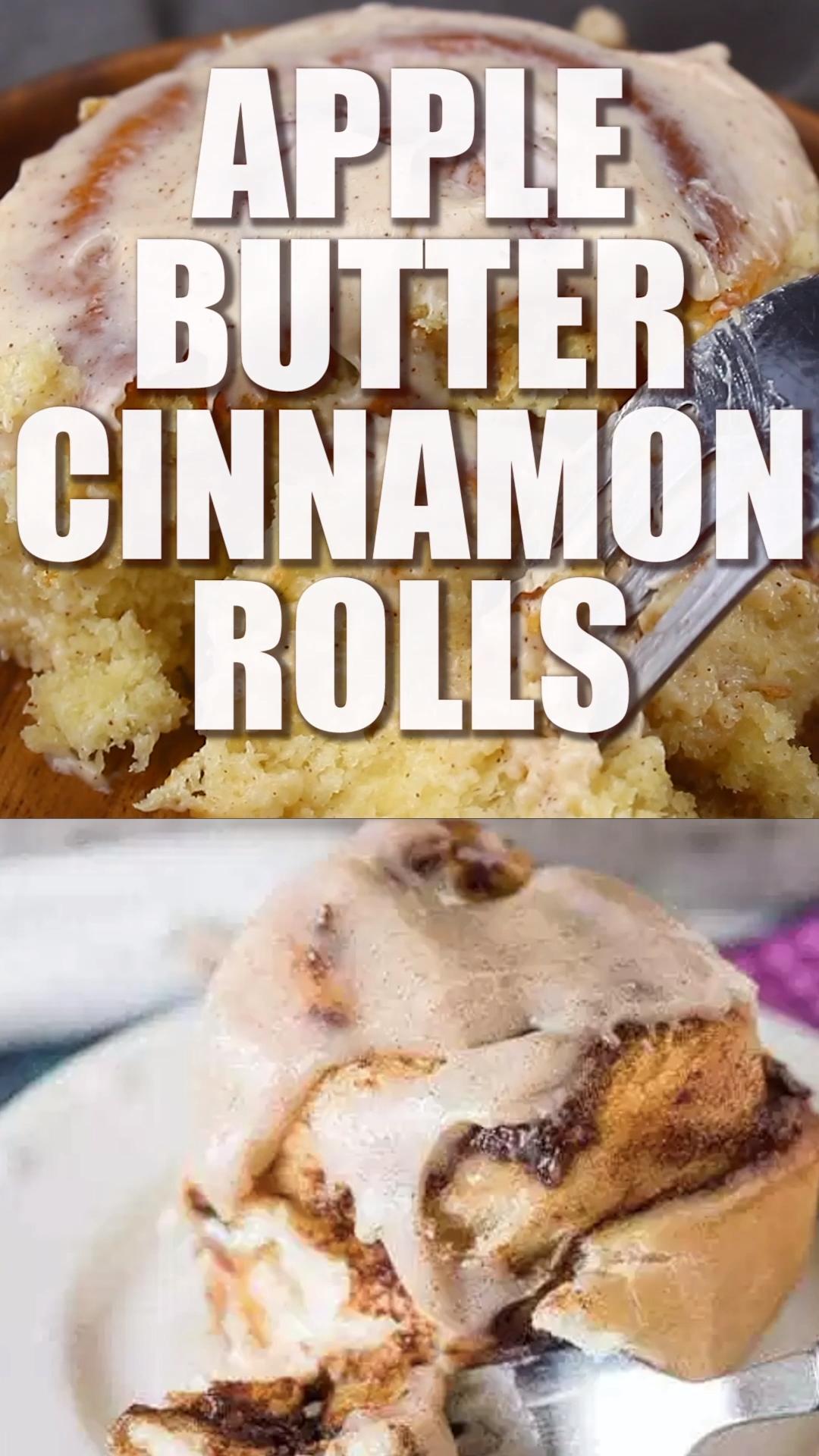 Apple Butter Cinnamon Rolls #applerecipes