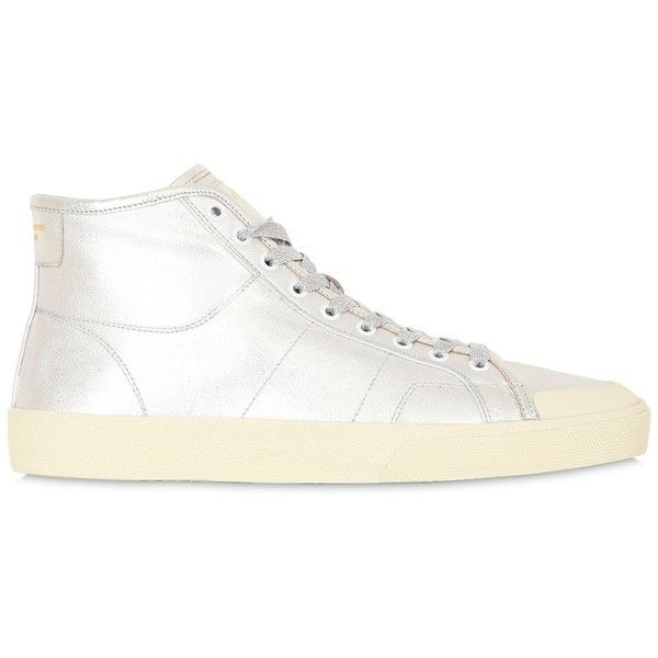 0cad634b756 Saint Laurent Men Court Classic Surf Laminated Sneakers ($510) ❤ liked on  Polyvore featuring
