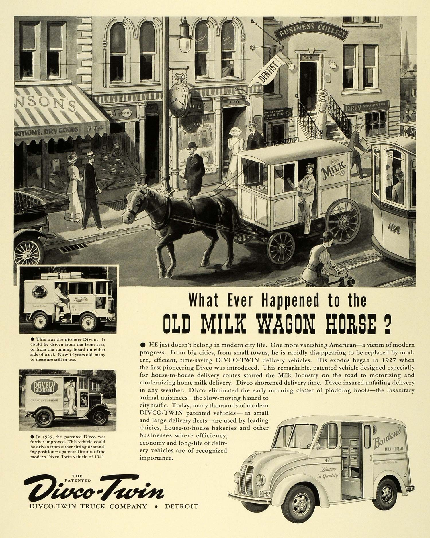 Vintage Detroit Ads 1941 Ad Divco Twin Truck Dairy Bordens Horse
