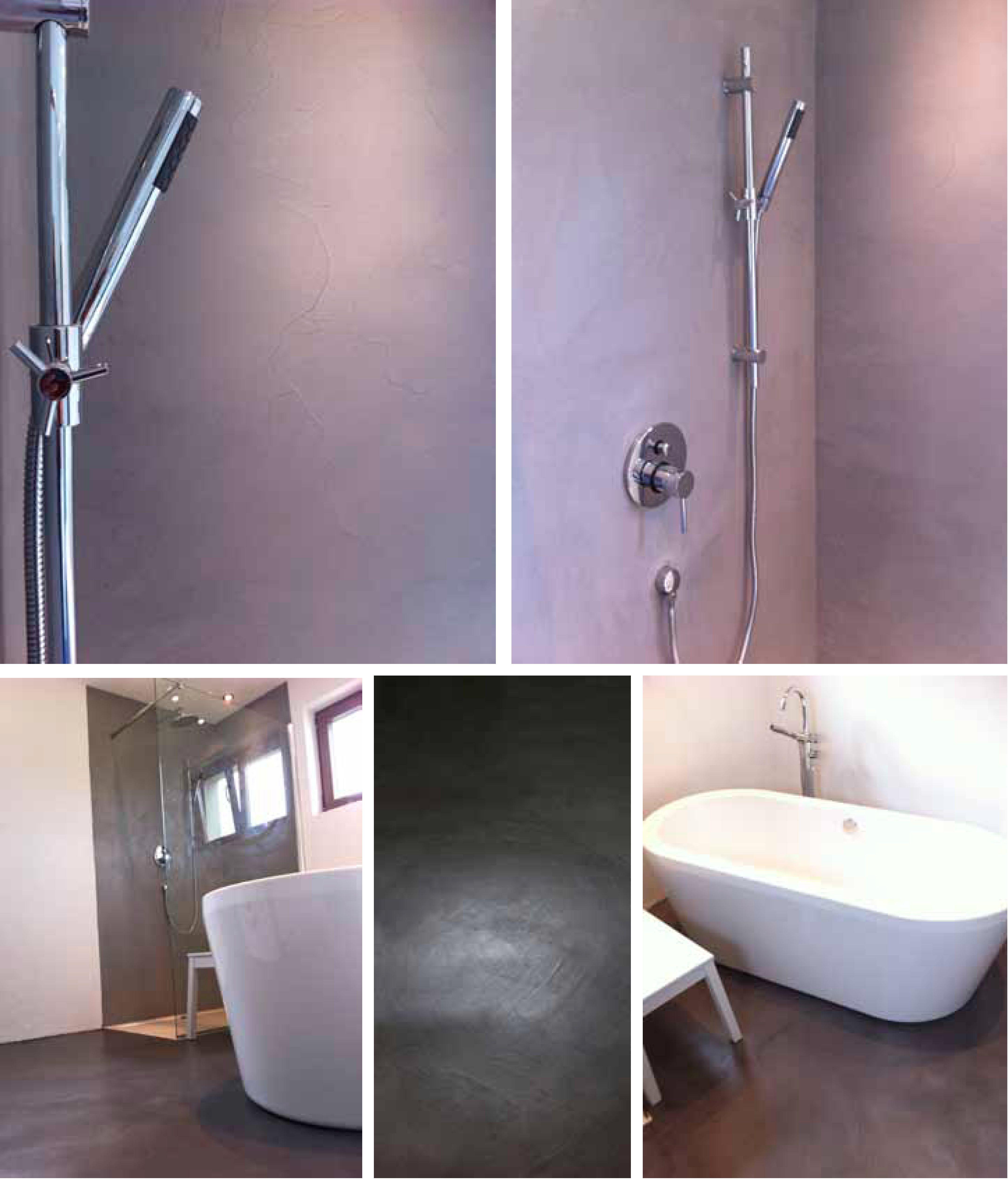 Betonfußboden gestaltung eines badezimmers mit den betonbeschichtungen
