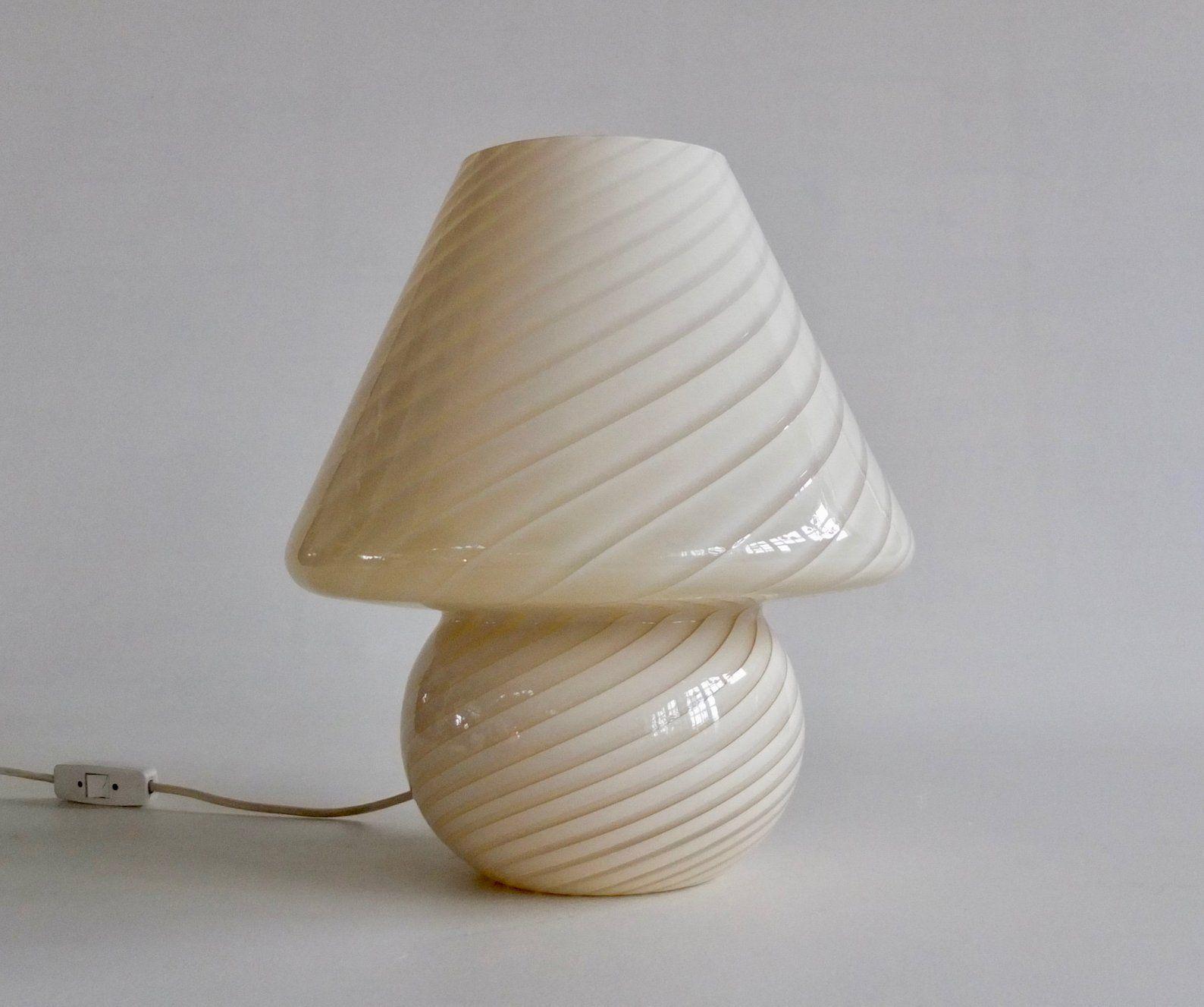 Xl Vintage Murano Swirl Glass Mushroom Table Lamp Beige Striped Glass 70s Italy Glass Mushrooms Lamp Tattoo Lamp