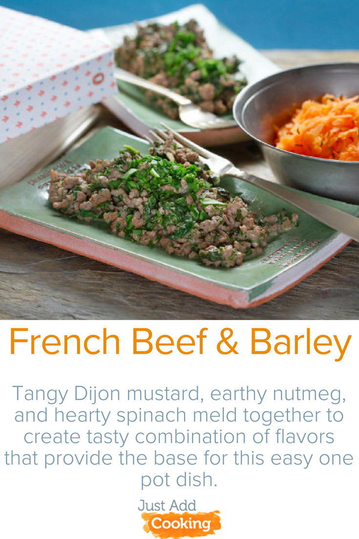 French Beef & Barley: Tangy Dijon mustard, earthy nutmeg, and hearty spinach meld together to create tasty combination of flavors that provide the base for this easy one pot dish. Allow your taste buds to be delighted with our bright, lemony, carrot salad served on the side!