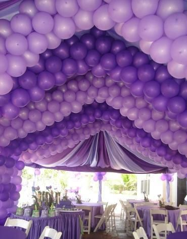 84e03b1a1 Amazing purple balloons decorations, draping and tablescape ...