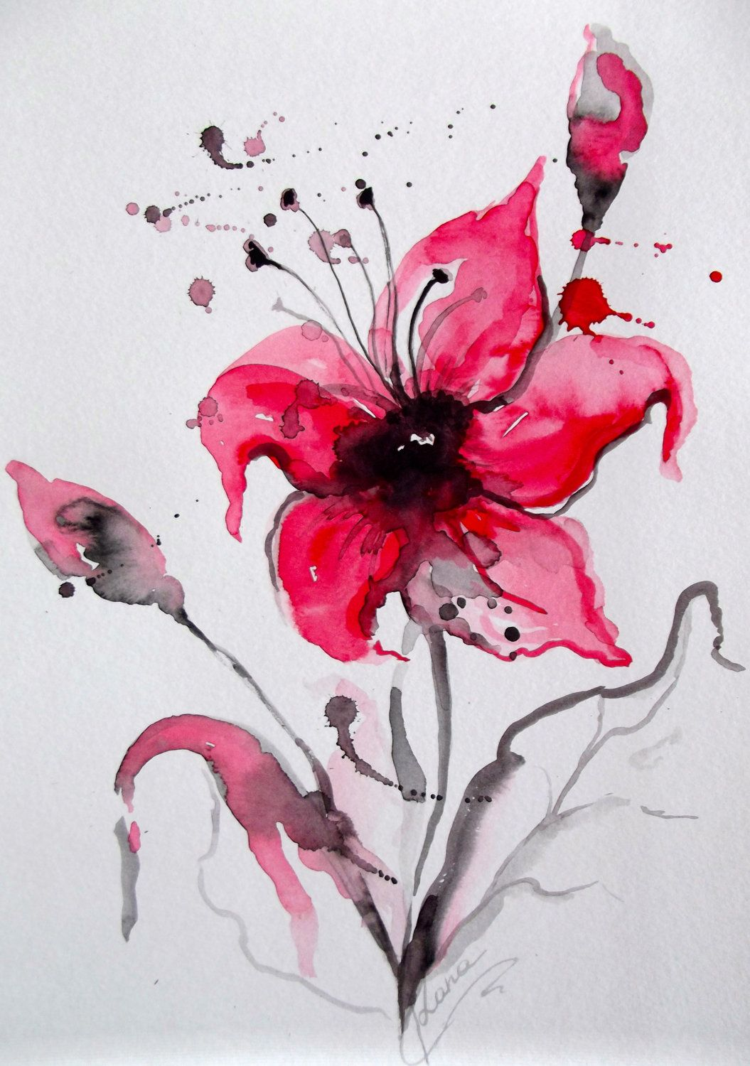 Abstract floral original watercolor painting modern home for Easy watercolor portrait