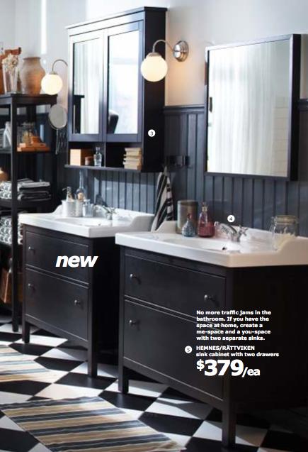 Checkered Flooring In Bathrooms W/ White Hemnes Cabinets U0026 Light Walls