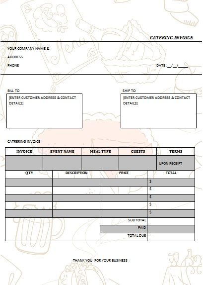 CATERING INVOICE 5 Catering Invoice Templates Pinterest Catering - catering invoice template excel