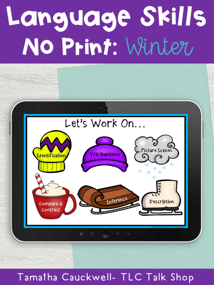 Language Tasks No Print Winter Winter Speech Therapy Speech Language Activities Expressive Language