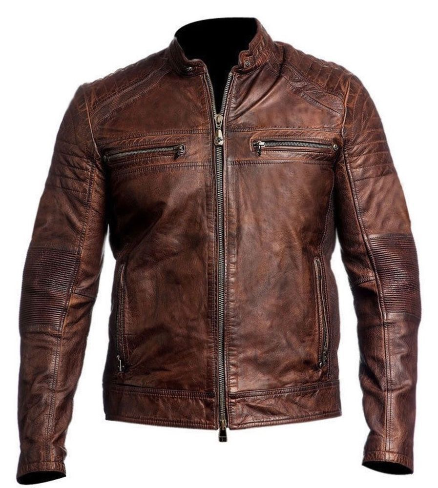 Da Uomo Biker moto vintage effetto anticato Cafe Racer Leather Jacket