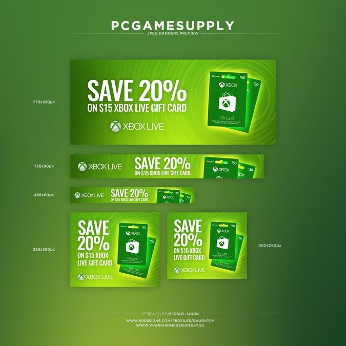 Xbox Live Banners By Daughtry Xbox Live Gift Card Banner Ads Design Web Banner Design