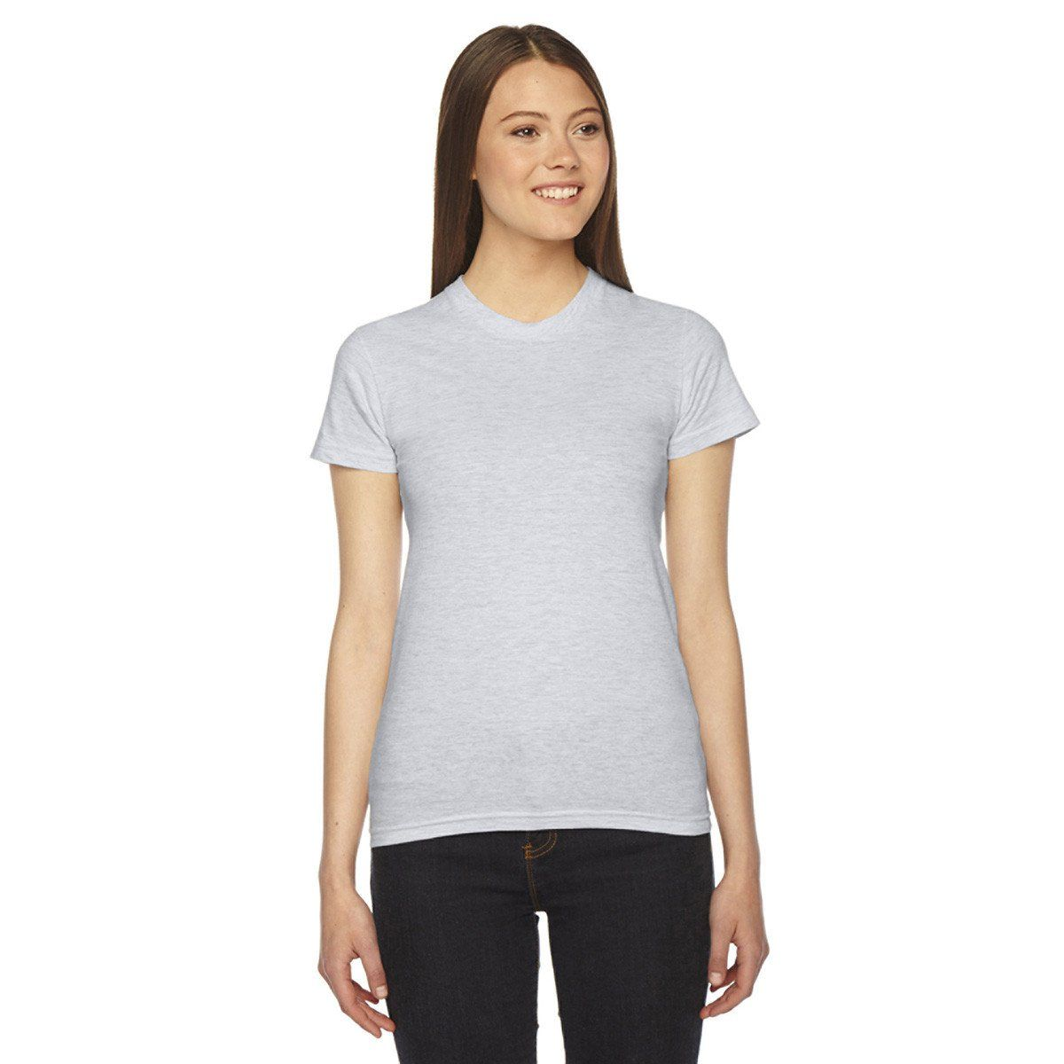 991c94c6f5 American Apparel Women's Ash Grey Fine Jersey Short-Sleeve T-Shirt ...
