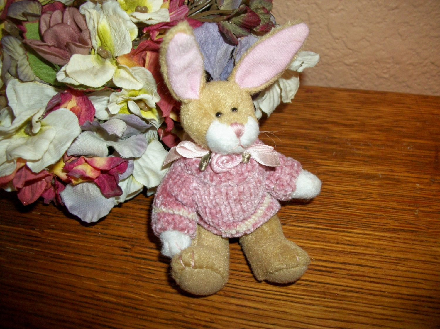 """Brown Bunny Rabbit 5"""" Stuffed Animal Pink Sweater Vintage  Easter Decoration Craft Supply Collectible by Bearington by Holiday365 on Etsy"""