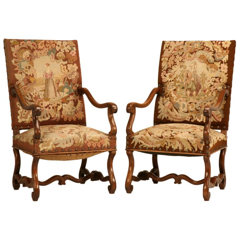 Pair of Original Antique French Walnut & Needlepoint Throne Chairs | Would  be more appealing in - Pair Of Original Antique French Walnut & Needlepoint Throne Chairs