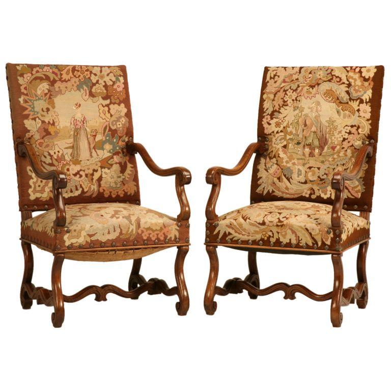 Pair of Original Antique French Walnut & Needlepoint Throne Chairs - Pair Of Original Antique French Walnut & Needlepoint Throne Chairs