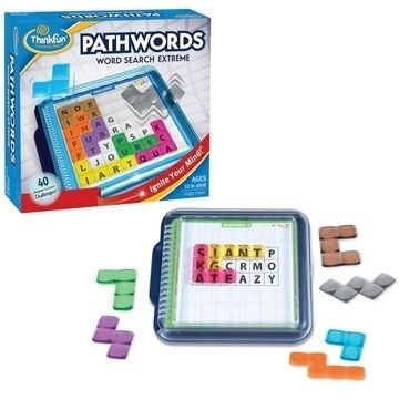 PathWords is the exciting game that combines the best of Tetris and Word Search! Place the puzzle pieces onto the selected challenge so the letters under each piece spell a word. Words are read forward or backward - letters will not be scrambled. #summer #ThinkFun #LittleSprout