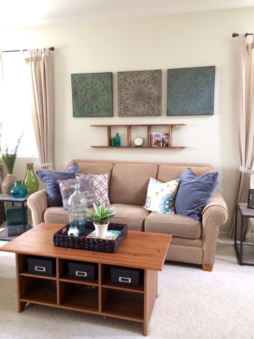 Living Room In Cool Neutrals Tan Couch Gray Pillows Teal Accents Tan Couch Living Room Couches Living Room Tan Couch #teal #and #tan #living #room