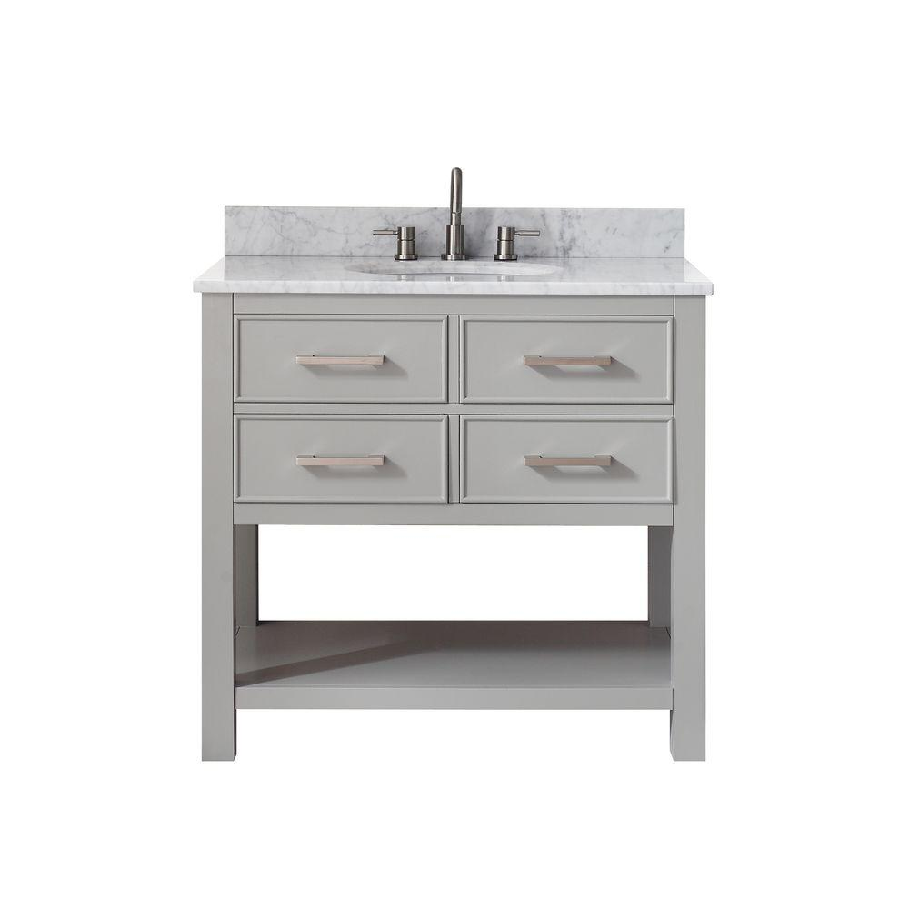 Avanity Brooks 37 In W X 22 In D X 35 In H Vanity In Chilled Gray With Marble Vanity Top In Carrera White With White Basin Marble Vanity Tops Bathroom