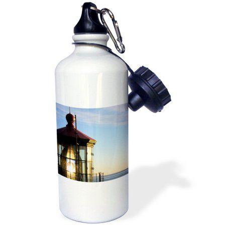 3dRose Haceta Lighthouse, Sports Water Bottle, 21oz, White