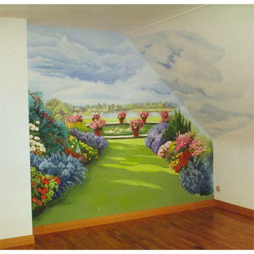 Trompe l 39 oeil le jardin painted walls parement mural jardin d 39 hiver peinture murale - Trompe l oeil jardin ...