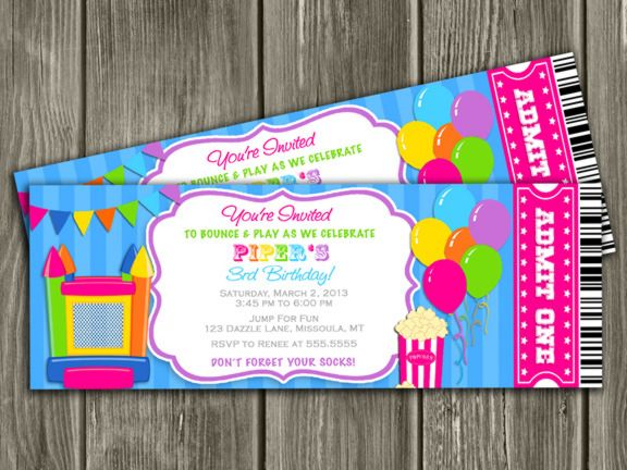 Free Printable Kids Birthday Invitations ~ Printable girl bounce house ticket birthday invitation jump