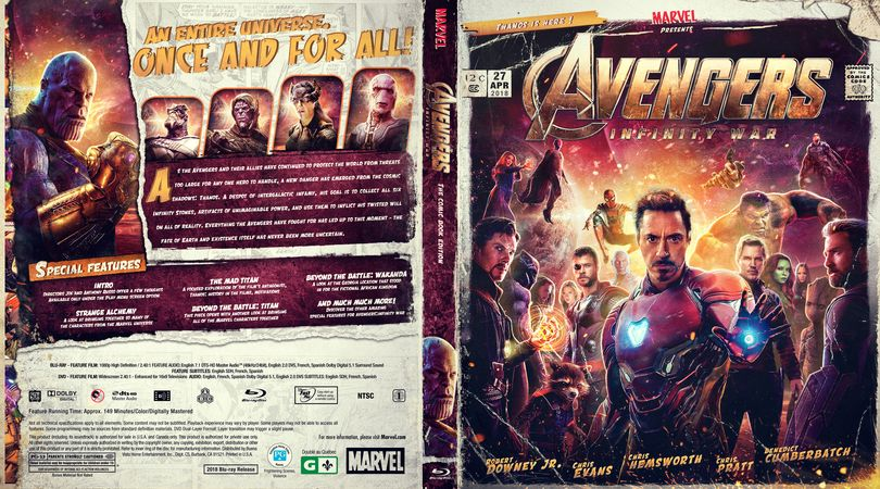 Avengers Infinity War Blu Ray Custom Cover Movie Covers Dvd Covers Cover