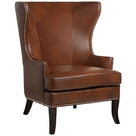 Best Royalton Cognac Wingback Chair 3R444 Lampsplus Com 400 x 300