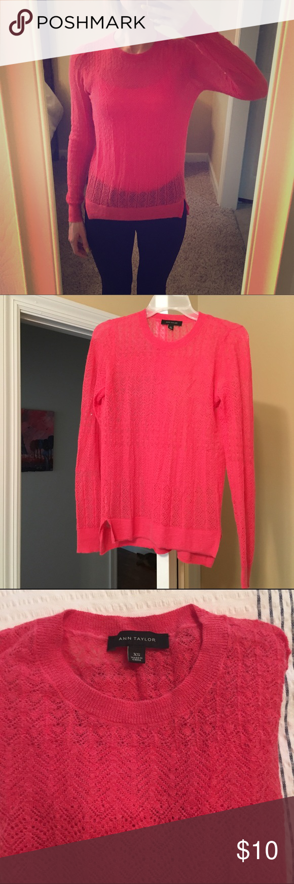 Ann Taylor pink light sheer sweater Good condition, hardly worn Ann Taylor Sweaters
