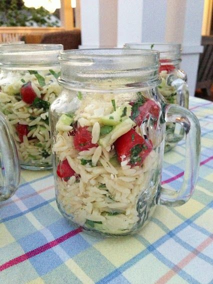 Incredibly easy summer salad served in a glass canning jar mug. Yummy #foodie recipe I found on Pinterest!