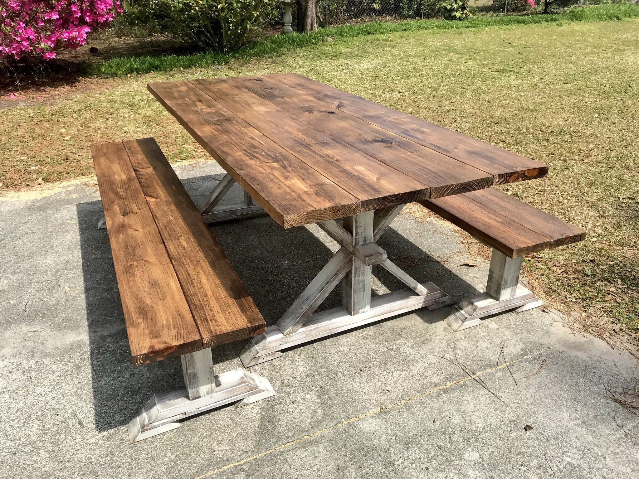 Rustic Pedestal 7ft Farmhouse Table With Long Benches Provincial Brown With White Distressed Base Dining Set Outdoor Farmhouse Table Farmhouse Table Farmhouse Table With Bench