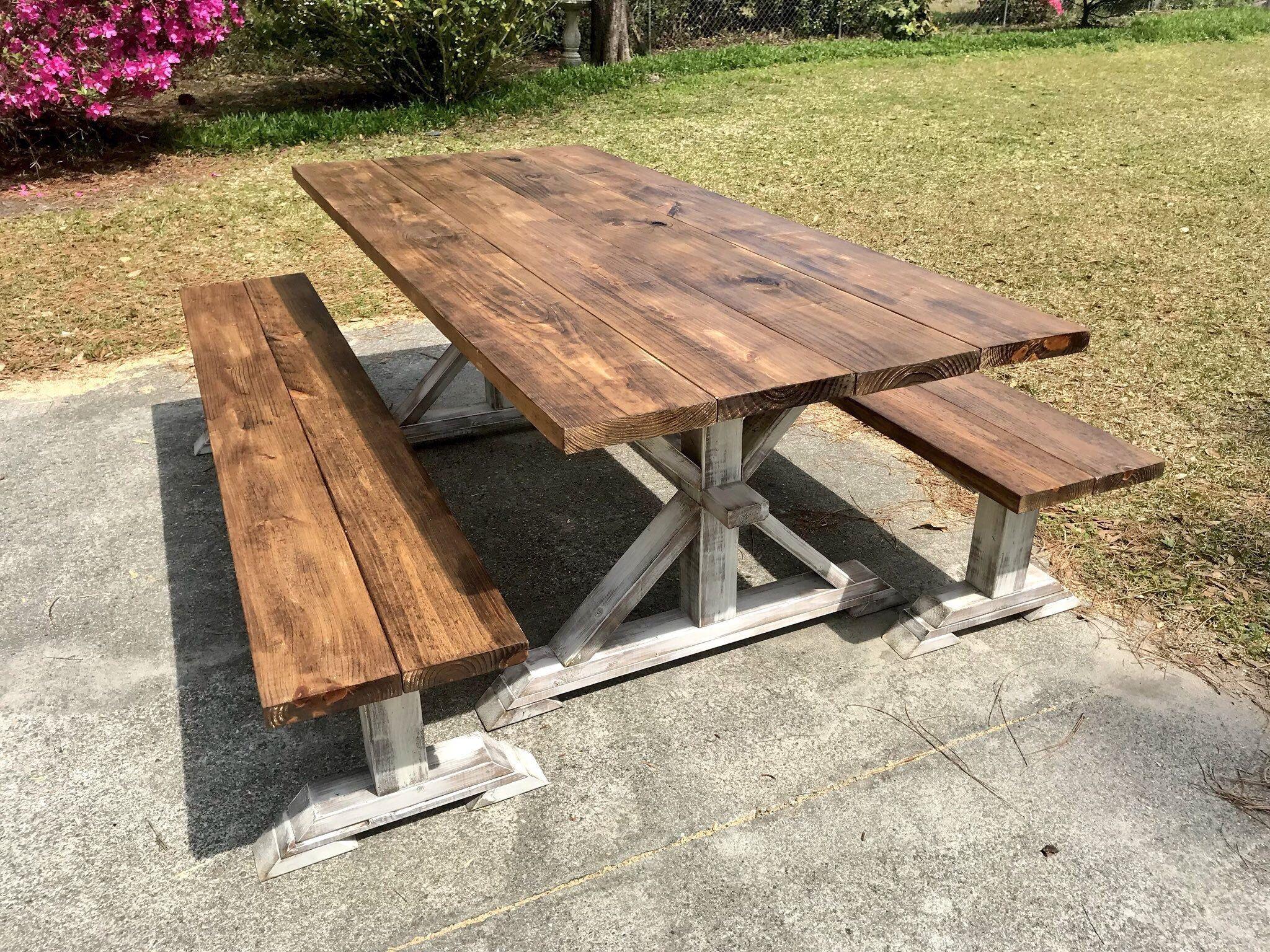 Terrific Rustic Pedestal 7Ft Outdoor Farmhouse Table With Long Machost Co Dining Chair Design Ideas Machostcouk