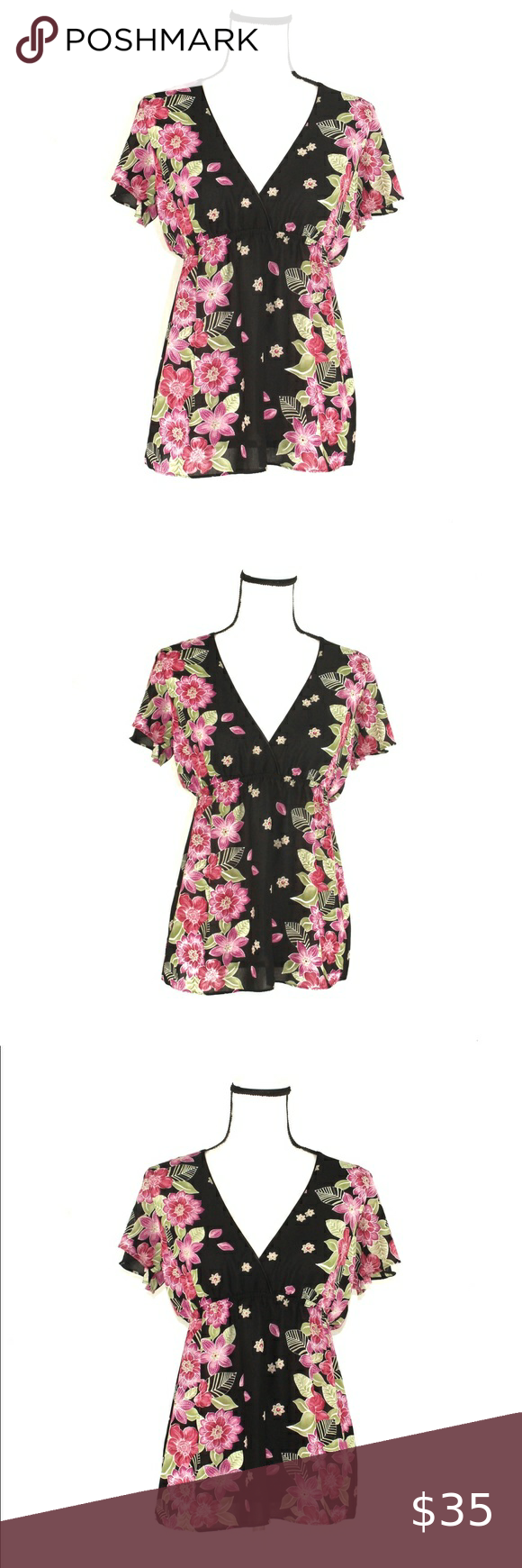 Oscar De La Renta Floral Blouse In Excellent Condition Size Small 100 Polyester Smoke Free Facility M Clothes Design Silk Floral Blouse Blouse Vintage