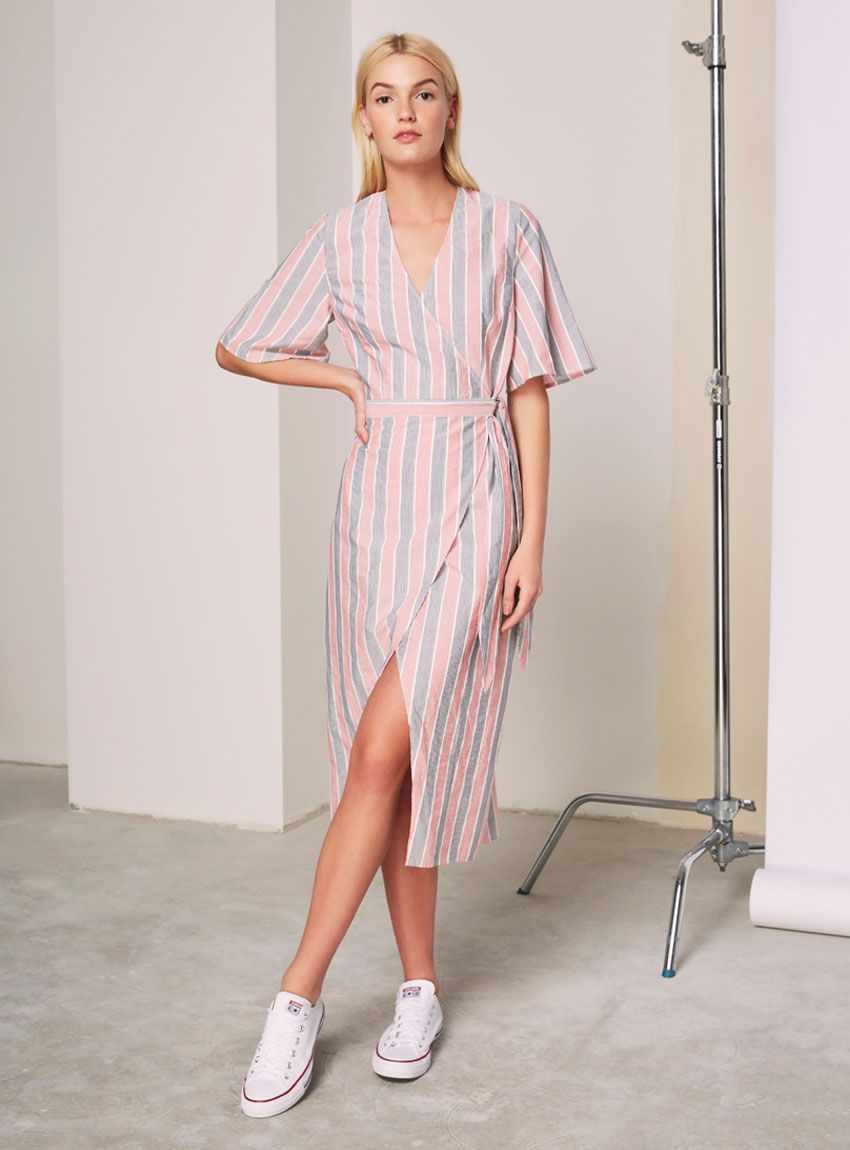 f1d274cb09a The Fifth With Me Stripe Wrap Dress – Red And Navy