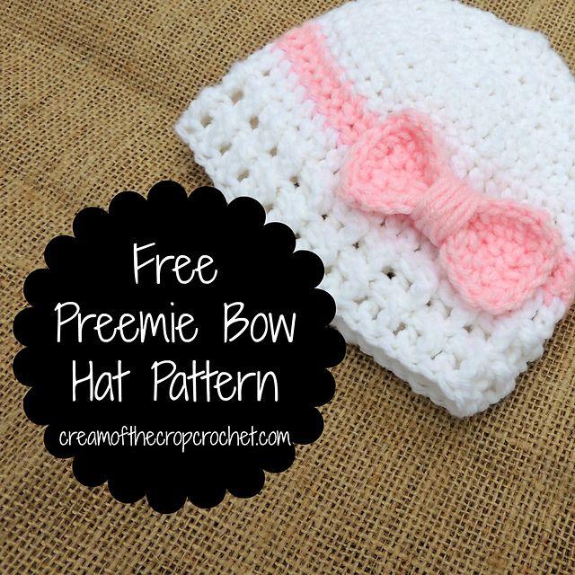 Preemie Bow Hat Free Pattern Knits For Preemies Pinterest
