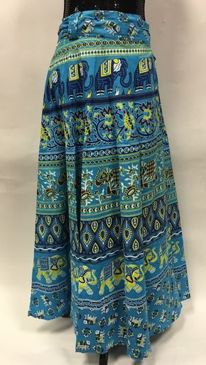 Wrap Skirt With White Hand Printed Flowers 60s Blue Vtg