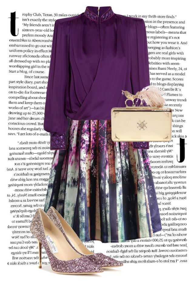 """""""802"""" by danielle1589d ❤ liked on Polyvore featuring Chicwish, Balmain, Jimmy Choo, Alexander McQueen, gold, purple, skirt, Clutch and Heels"""