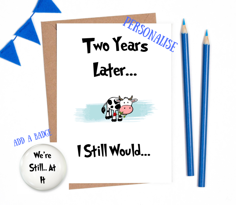 2nd year anniversary card personalised wedding