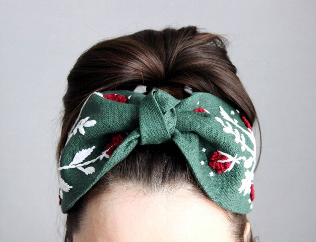 Handmade Fashion Headpiece Embroidery Flowers Hoops Headbands Girls Women Gift