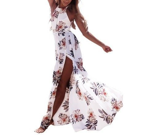 Floral Print Halter Chiffon Long Dress Women Backless Maxi Dresses Split Beach Summer Dress