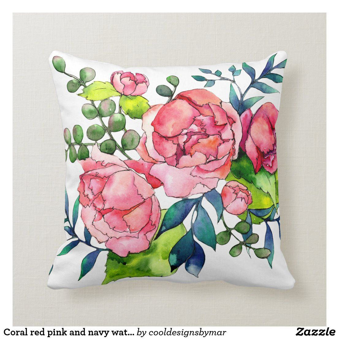 Coral Red Pink And Navy Watercolor Peony Roses Throw Pillow Zazzle Com In 2021 Throw Pillows Throw Pillows Watercolor Watercolor Peonies