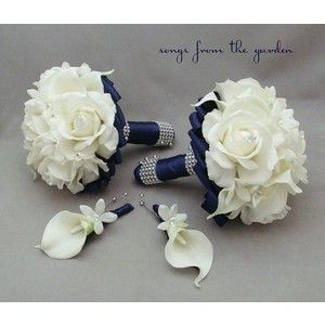 Navy Blue Bridal Bouquet, Mint Green Wedding Flowers - Polyvore ...