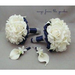 Navy Blue Bridal Bouquet Mint Green Wedding Flowers Polyvore
