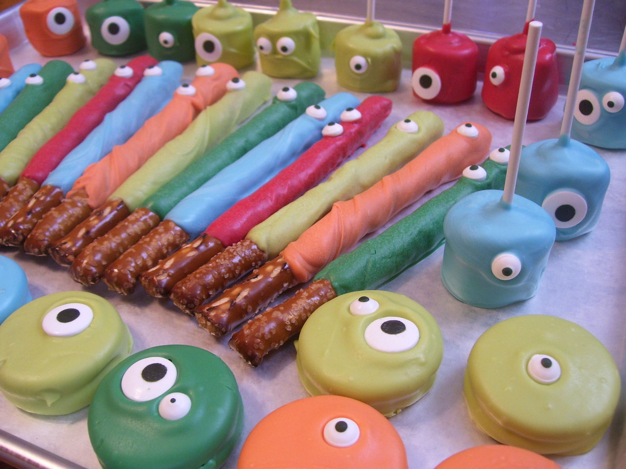 Monster Themed Chocolate Covered Pretzel Rods Marshmallow