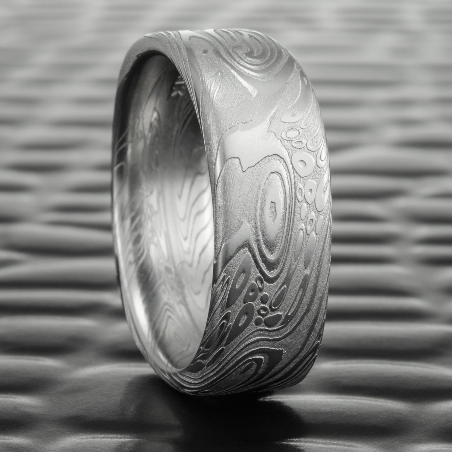 Damascus Steel Wedding Band By Steven Jacob Masculine Square Ring At Moe