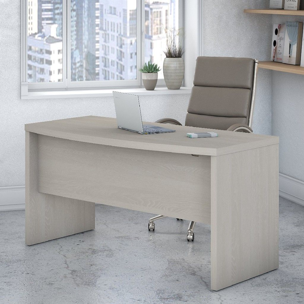 Office By Kathy Ireland Echo 60w Bow Front Desk In Gray Sand
