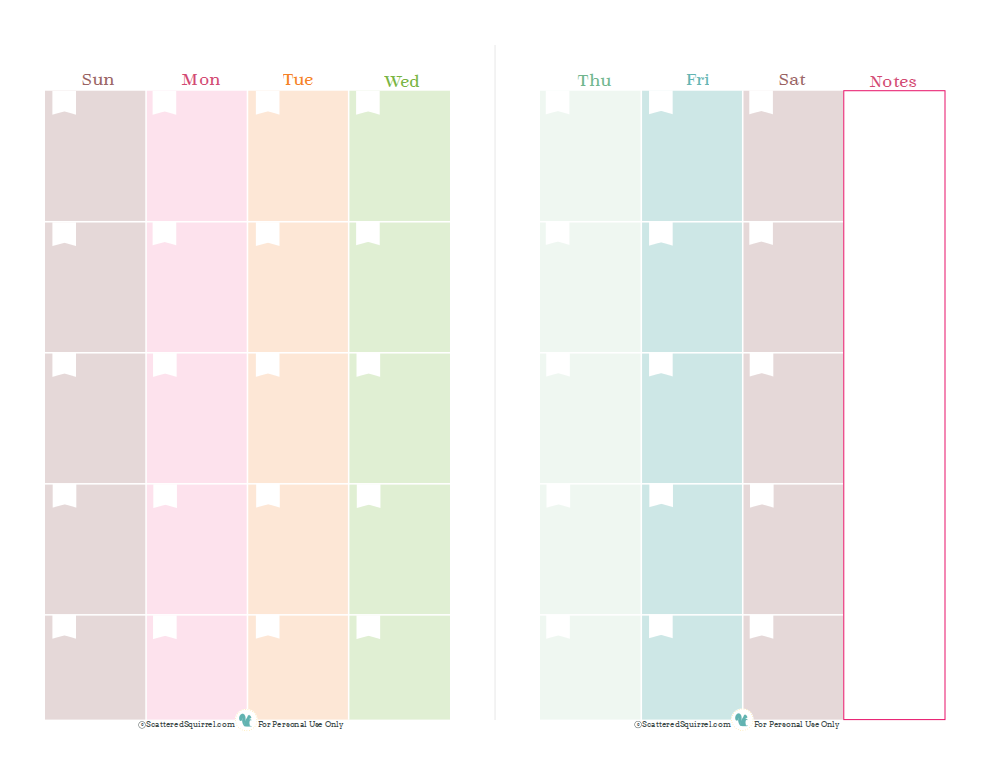 Half size planner printables printable blank calendar for 2 page weekly calendar template