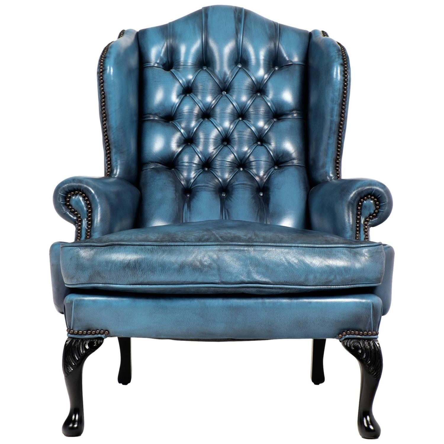Captivating Vintage Steel Blue Leather Chesterfield Wingback Armchair   England   C1940s