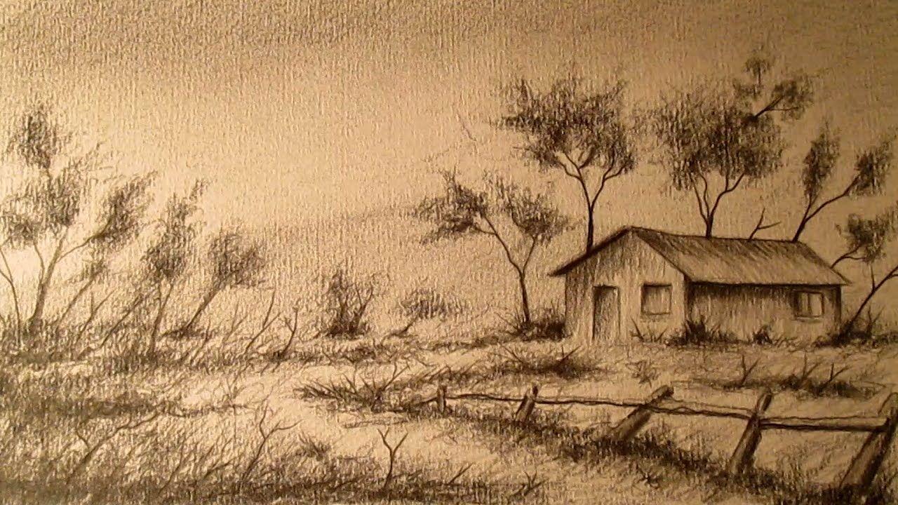 Cómo dibujar un paisaje a lápiz paso a paso, aprender a dibujar paisajes a lapiz