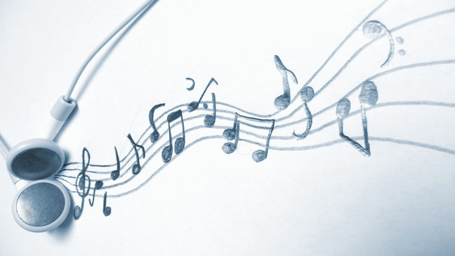 Headphones Music Notes White Background Hd Wal 4277 Wallpaper